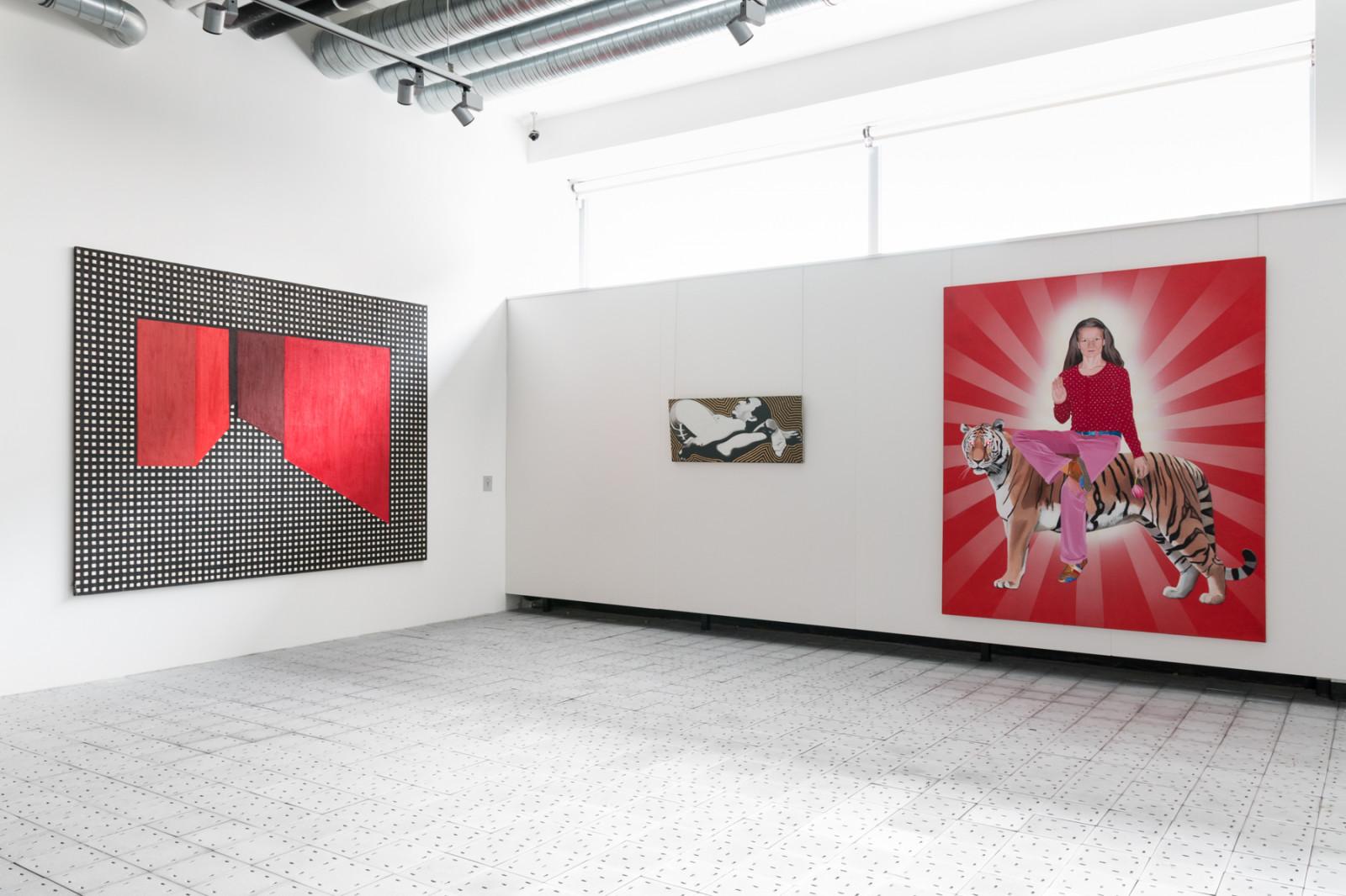 Ipohled do expozice doprovodné výstavy Na druhé straně (zrcadla) – současná polská malba ze sbírky Galeria Bielska BWA