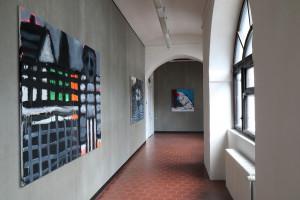 pohled do expozice, kurátor Václav Mílek a Ivan Bergmann