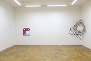 pohled do expozice, kurátor Marek Pokorný
